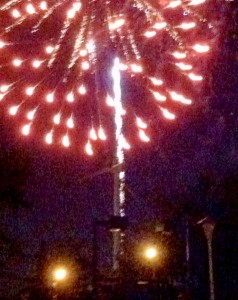 Fireworks light up the Point Lookout wind turbine