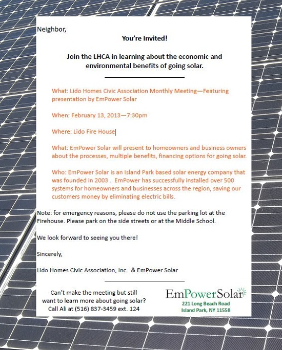 Empower Solar to discuss residential Solar Power at Lido Firehouse