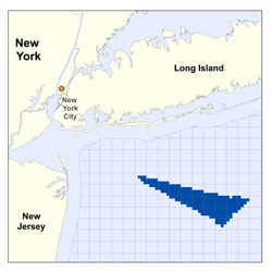 Long Island Offshore wind site map, Courtesy Bureau of Ocean Energy Management