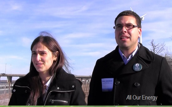 Heather Leibowitz of Environment New York and David Alicea of Sierra Club focus attention on wind power benefits and expansion.