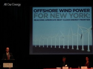 """Neal Lewis, of the Sustainability Institute at Molloy College Addresses The """"Why Offfshore Wind"""" discussion at the Offshore Wind For New York Conference, November 13, 2013."""